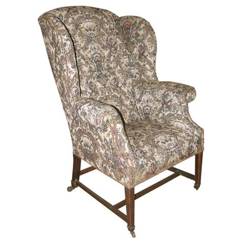 antique english wing chair at 1stdibs english wing chair in antique fabric at 1stdibs