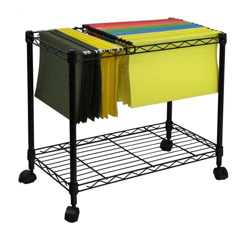 rolling file cart oceanstar portable 1 tier metal rolling file cart black home kitchen