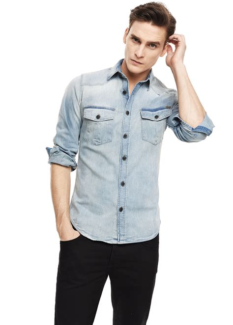 Light Denim Shirt by Mango Classicfit Light Denim Shirt In Blue For Lyst