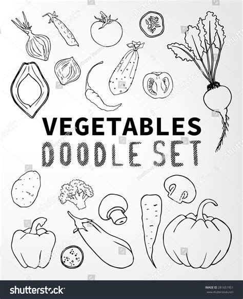 vegetable doodle vector free vegetables doodle set set of elements suitable for your