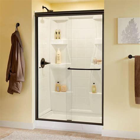 Delta Simplicity 48 In X 70 In Semi Frameless Sliding Clear Glass Frameless Sliding Shower Door
