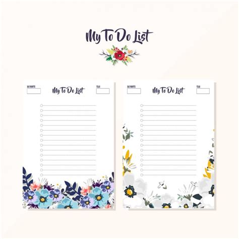 printable to do list design floral to do list designs vector free download