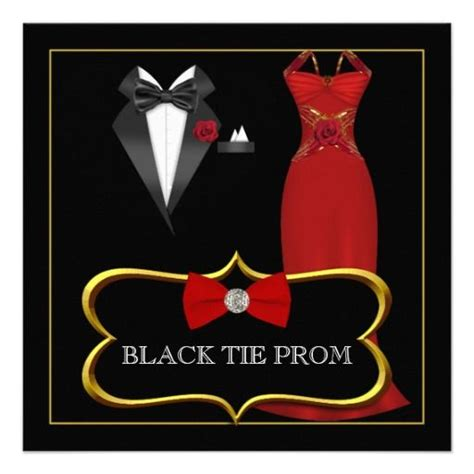 jquery themes black tie prom high school dance formal red black tie invites red