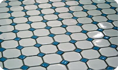 Octagon and dot floor tiles in 13 color combinations