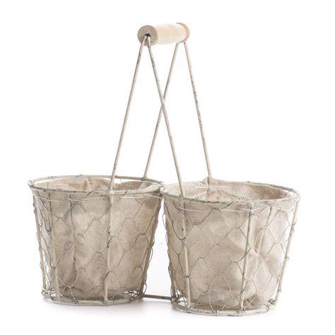 white washed chicken wire storage basket decorative