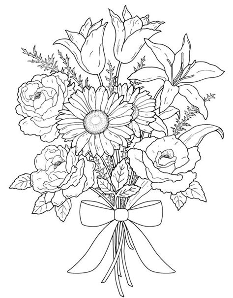 libro drawing flowers floral bouquets coloring book coloring pages first edition dover publications