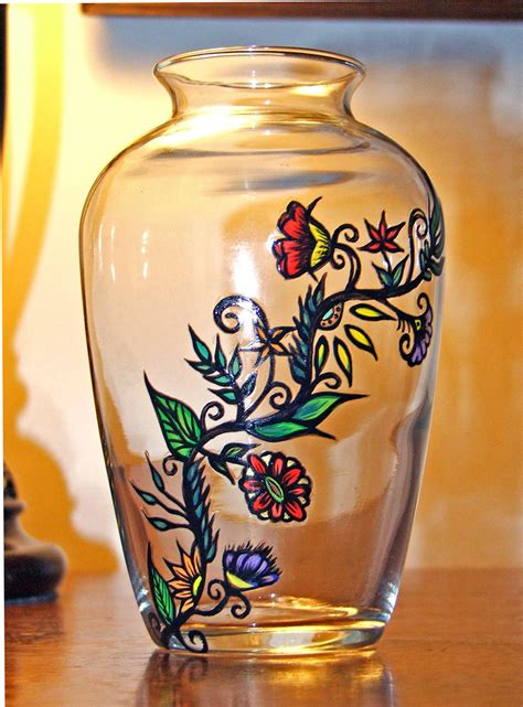 Painted Glass Vases Hand Painted Glass Vase W Flower Vine By Tattedglass On Etsy