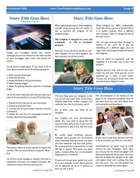 pages newsletter templates free 1000 images about personal general newspaper templates