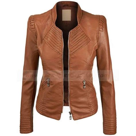 brown motorcycle jacket brown pleather jacket coat nj