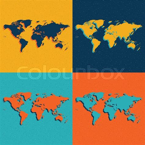 flat world map vector color world maps flat style vector eps illustration