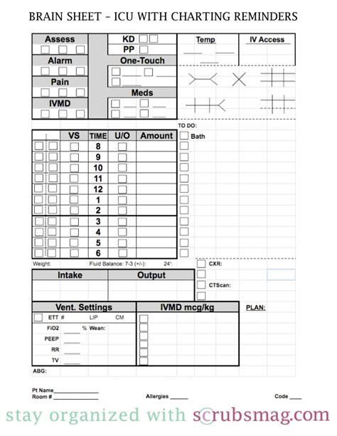 icu nurse report sheet templates images