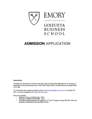 Goizueta Mba Acceptance Rate by Fillable Goizueta Emory Admission Application