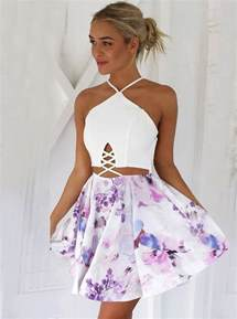 buy a line v neck lace up short floral polyester homecoming dress homecoming dresses under us
