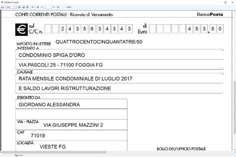 codice ufficio postale su bollettino bollettini postali mod ch 8 bis software per la