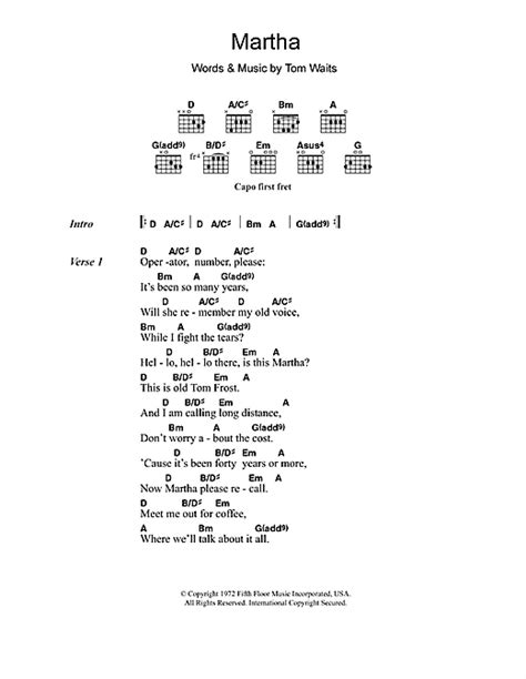 blue lyrics tom waits martha sheet by tom waits lyrics chords 106017