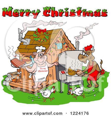 clipart   merry christmas greeting  santa   bbq smoker royalty  vector