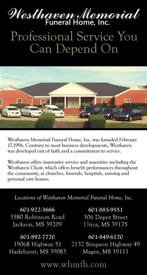 christians in business westhaven memorial funeral home