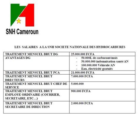 Grille De Salaire Au Cameroun by Les Salaires A La Snh Societe Nationale Des Hydrocarbures
