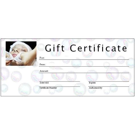 spa gift certificate template free printable gift certificate templates for ms publisher