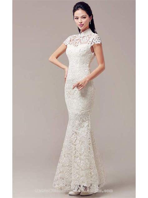 Mandarin Collar Sleeve Dress cap sleeve white lace checonsam mandarin collar