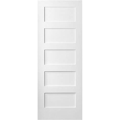 home depot prehung interior doors masonite 36 in x 80 in mdf series smooth 5 panel equal solid primed composite single