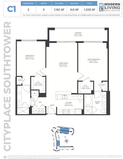 cityside west palm floor plans c1 2 bedroom 2 bath cityplace south tower