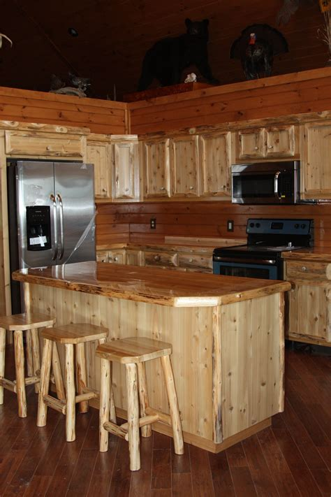 hand crafted custom rustic cedar kitchen cabinets by king