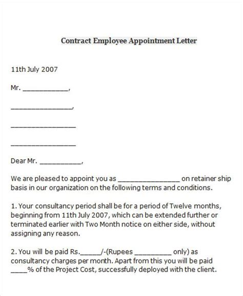 appointment letter sle for contract staff appointment letter format for contract employees 28