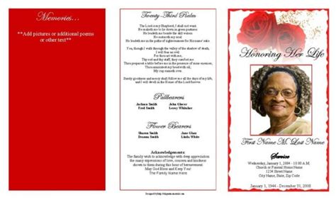 trifold funeral program template with bible verse or poem