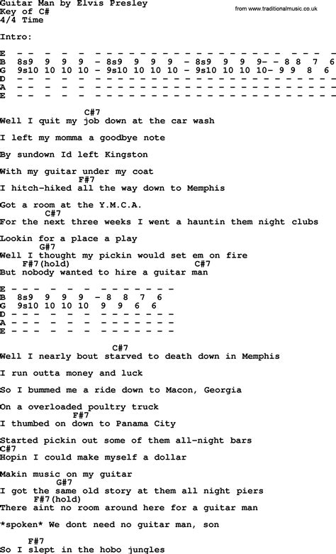 Elvis Presley Guitar Chords And Lyrics