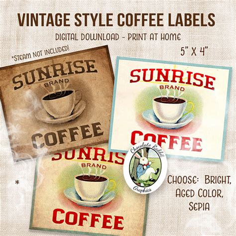 vintage style new kitchen and coffee cans on pinterest coffee label digital download printable vintage style