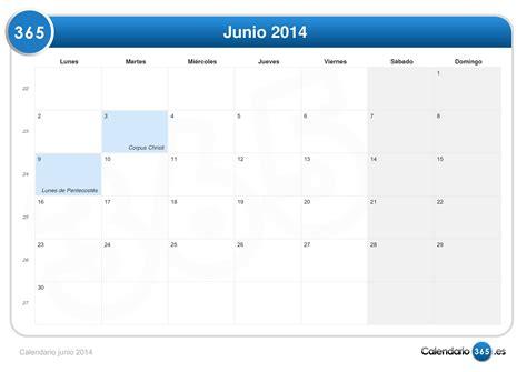 Calendario Junio Calendario Junio 2014