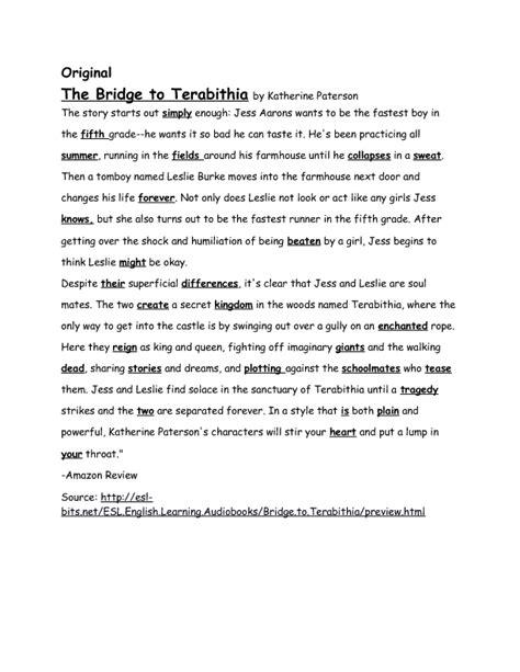 book report on bridge to terabithia the bridge to terabithia spelling check