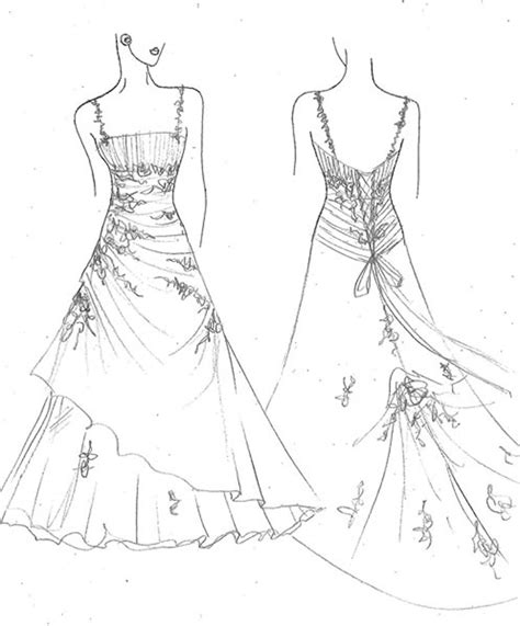 a wedding gown colouring pages