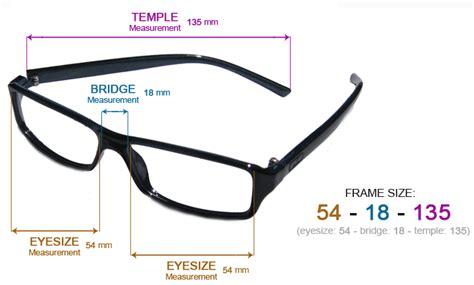 glasses frame size chart eyeglasses