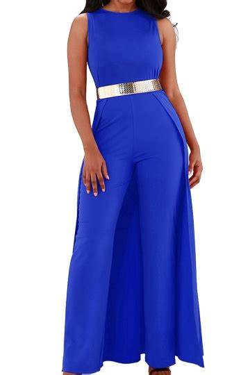 Jumpsuit Import Murah 1894 Blue womens overlay high waisted split wide leg jumpsuit blue melodicday