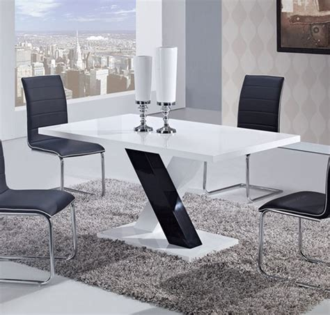 Mdf Dining Table Global Furniture Usa 490 Dining Set White High Gloss Mdf Black And White Legs A D490dt D490dc