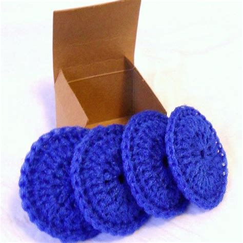 knitted scrubbies netting made netting dish scrubbies set of 4 cobalt