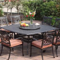 Outside Patio Dining Sets Darlee St 9 Cast Aluminum Patio Dining Set With Lazy Susan Ultimate Patio
