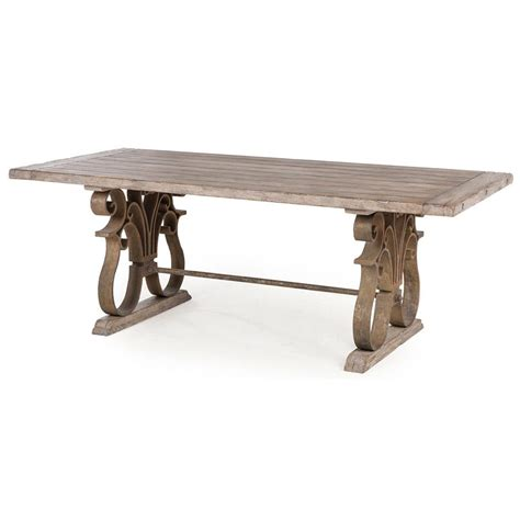 country dining table talulah country rustic iron scroll aged wood dining table
