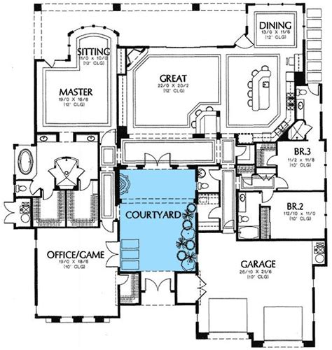 mediterranean floor plans with courtyard rear courtyard house plans plan w16359md mediterranean