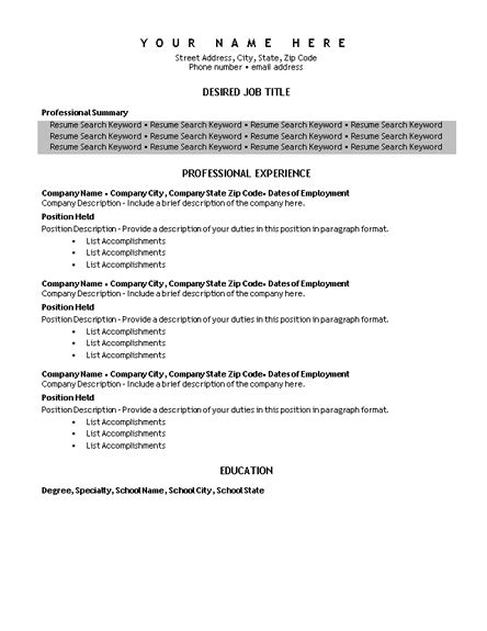 Microsoft Word 2010 Resume Template by Resume Template Microsoft Word 2010