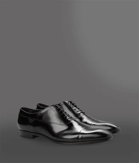 emporio armani laceup shoes in black for lyst