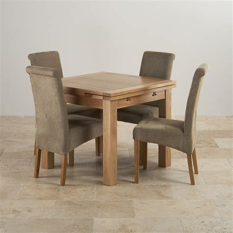 Extending Dining Table And Chairs Dorset Oak 3ft Dining Table With 4 Fabric Chairs