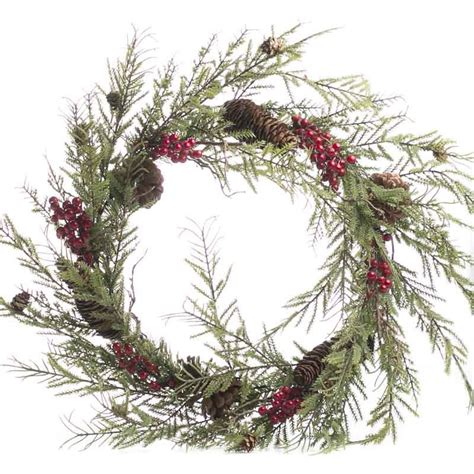 artificial cedar and berry wreath wreaths floral