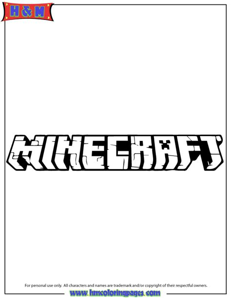 Minecraft Logo Coloring Pages | free coloring pages of minecraft logo