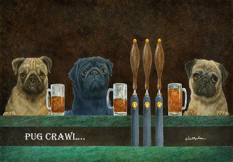 pug crawl pug crawl painting by will bullas