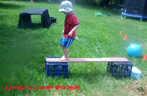 adventures at home with outdoor obstacle course
