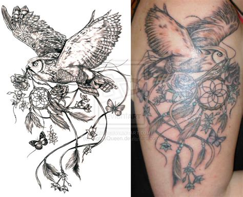 dreamcatcher tattoo designs with birds owl bird dreamcatcher tattoo design tattooshunt com