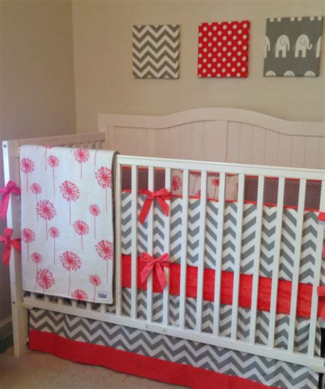 Coral And Grey Crib Bedding by Gray And Coral Dandelion Crib Bedding Set